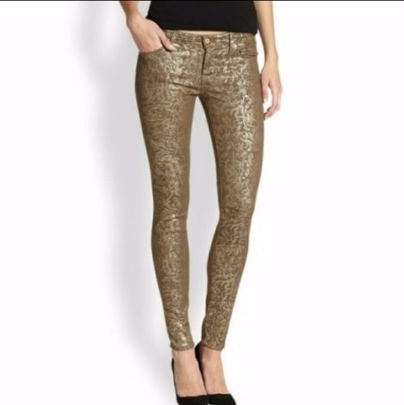 7 FOR ALL MANKIND Metallic Gold Coated Jeans 25